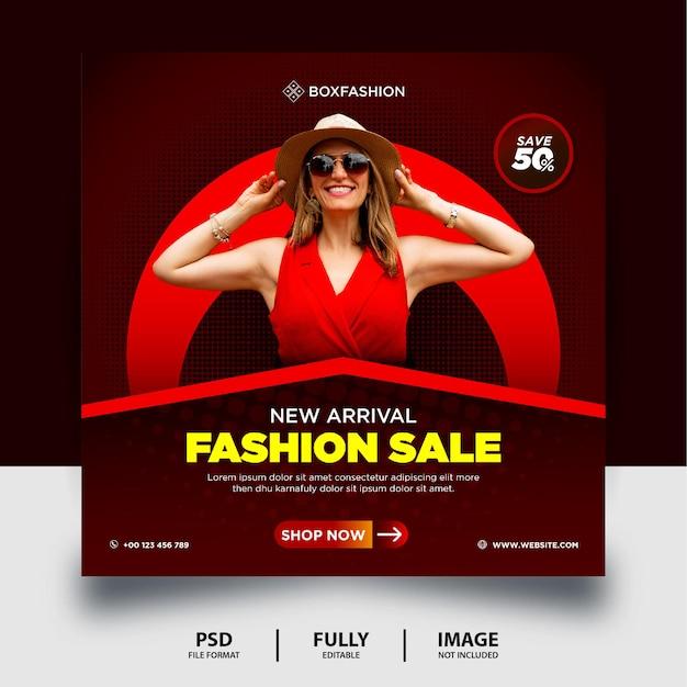ダークレッドカラーファッションセールinstagramソーシャルメディア投稿バナー