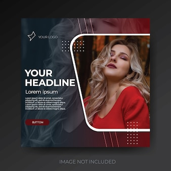 Dark red modern fashion social media template