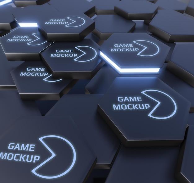 Темные формы со светящимся логотипом
