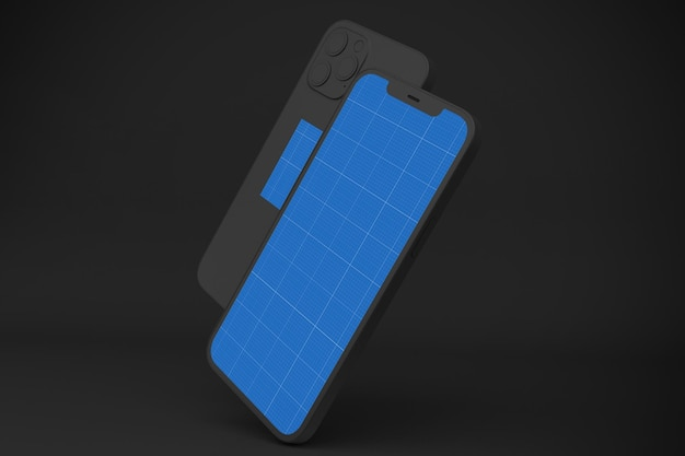 Dark smartphone mockup, 3d rendering