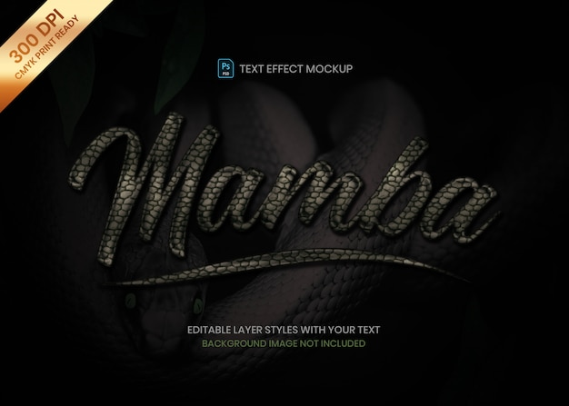 Dark snake skin material logo text effect psd template.