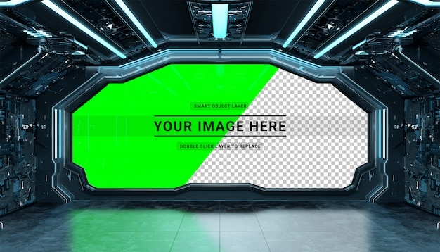 Dark spaceship futuristic interior with cut out window