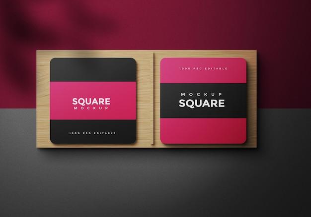 Dark square business card mockup design