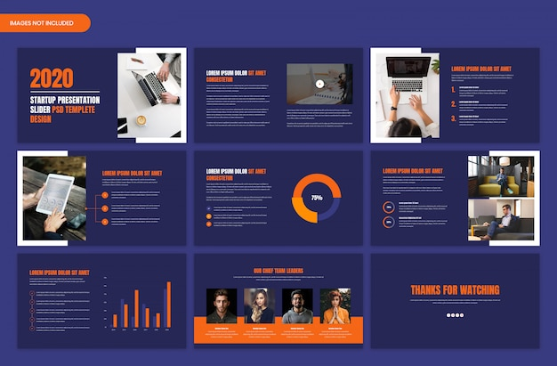 Dark startup and project overview business slider template design