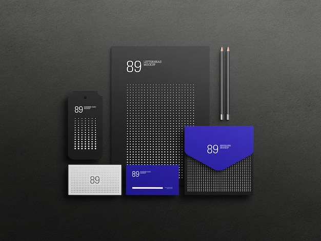 Dark stationary set mockup