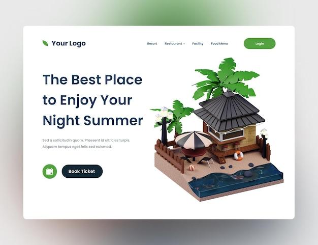 Шаблон дизайна веб-сайта темных летних каникул