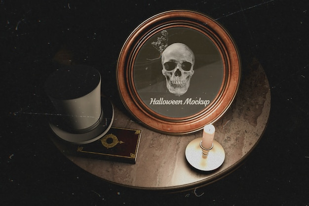 Dark table design of halloween round frame with skull