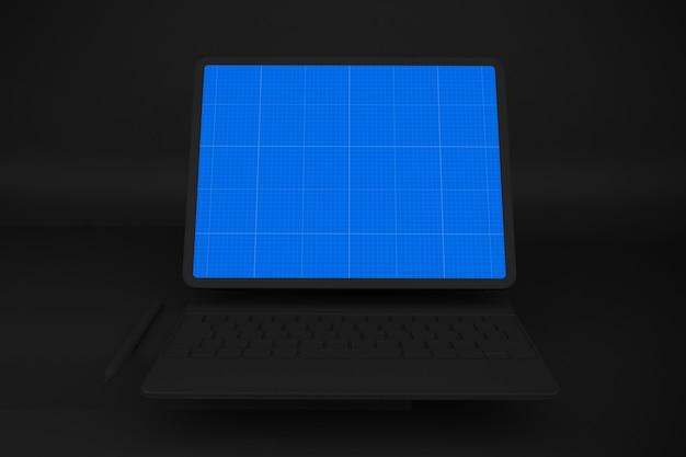Dark tablet and keyboard mockup Premium Psd