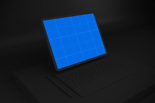 Dark tablet and magic keyboard mockup