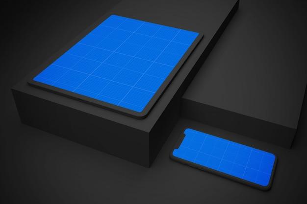 Dark tablet and mobile mockup