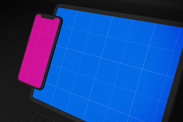 Dark tablet and mobile mockup Premium Psd