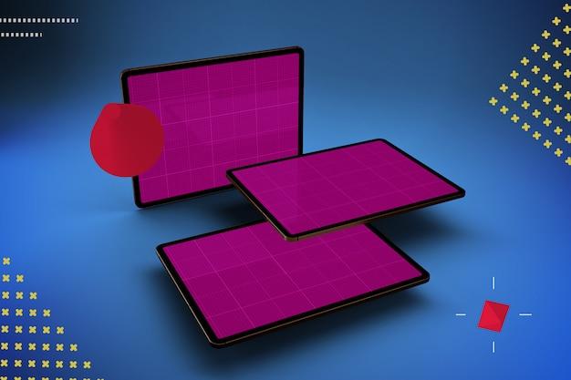 Dark tablets mockup