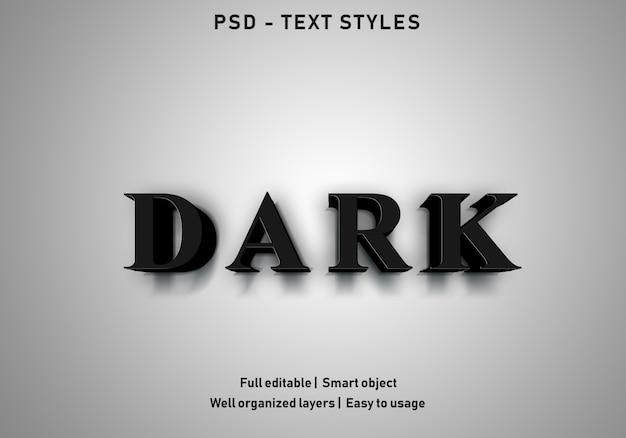 Темные текстовые эффекты в стиле редактируемых psd