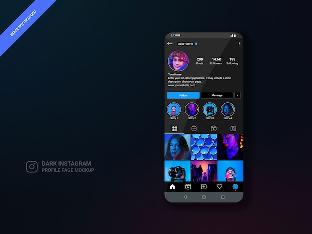 Dark theme instagram profile page mockup