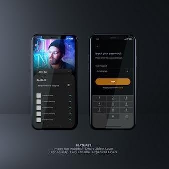 어두운 사용자 인터페이스 스마트 폰 모형
