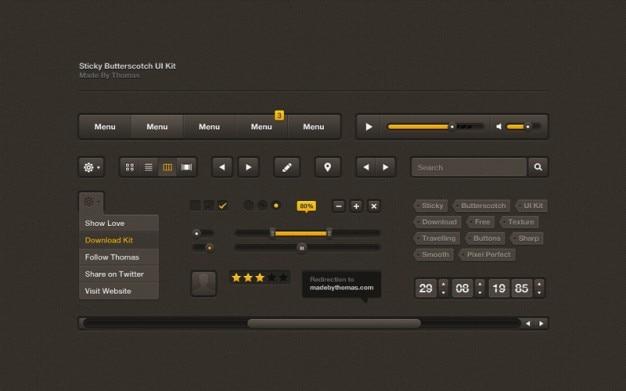 Dark user interface with orange bars