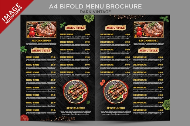 Dark vintage bifold menu brochure template