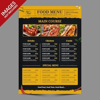 Темное винтажное меню еды и напитков, лучшее для продвижения ресторана премиум psd шаблон