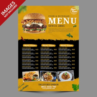 Dark vintage food and beverages menu  best for restaurant promotion premium psd template