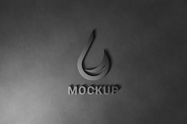 暗い壁のロゴのモックアップ