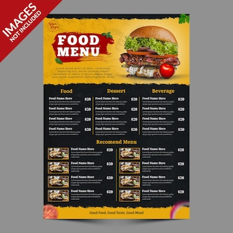 Dark and yellow restaurant food menu promotion template premium psd