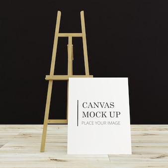 Одиночная картина холст рама макет в darkroom с деревянным полом - портретная рамка
