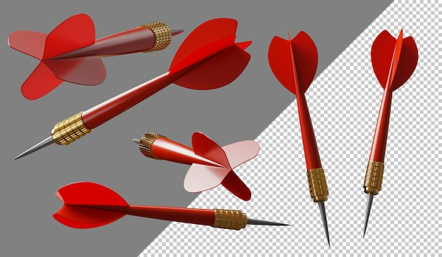 Dart arrows in different directions 3d illustration