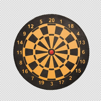 Dart board over white background