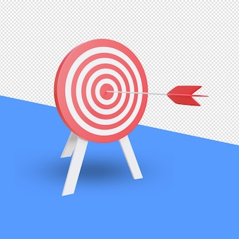 Dart hitting a target  3d render