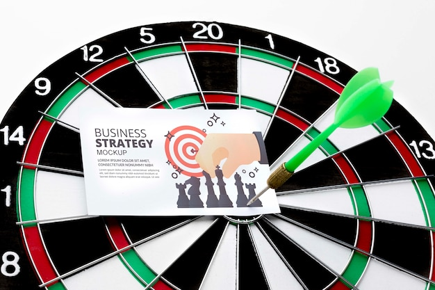 Darts game with arrow and card mock-up