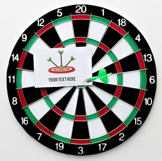 Darts game with card mock-up and green arrow