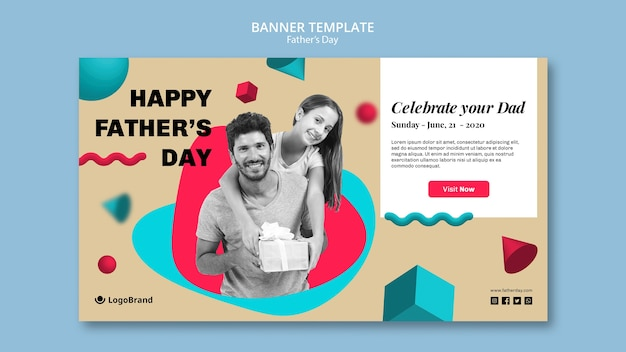 Daughter and dad holding a gift banner template
