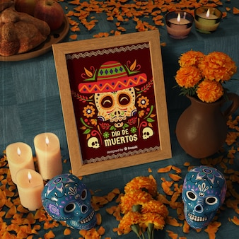 Day of dead traditional mexican mock-ups high view