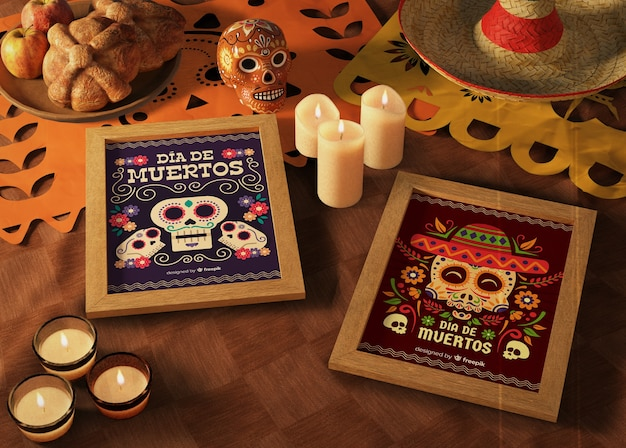 Day of dead traditional mexican mock-ups with candles