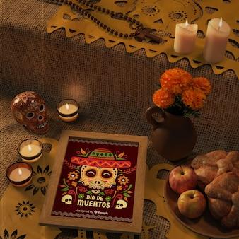 Giorno dei morti modelli messicani tradizionali con fiori