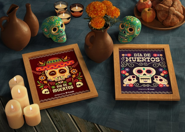 Day of dead traditional mexican mock-ups with skulls