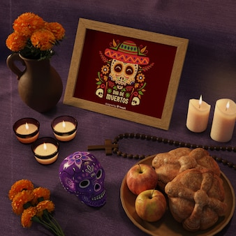 Day of dead traditional mexican mock-ups with