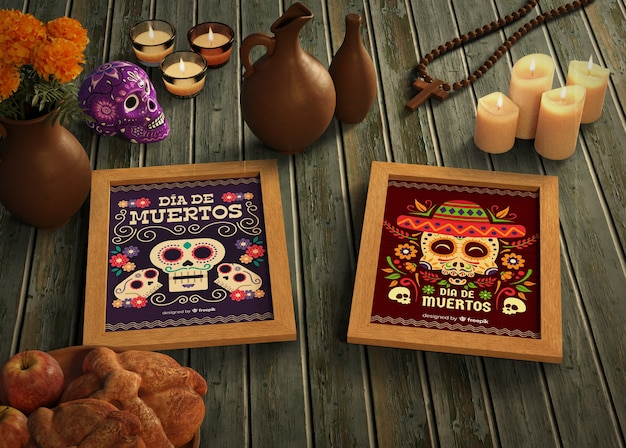 Day of dead traditional mexican mock-ups
