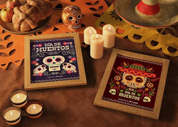 День мертвых традиционных мексиканских макетов со свечами