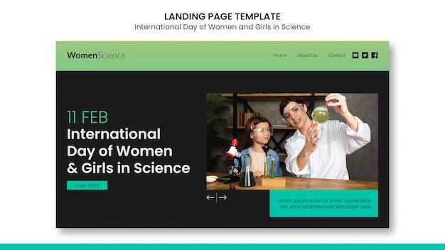 科学のウェブテンプレートで女性と女の子の日