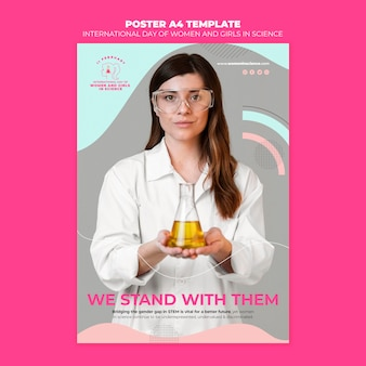 Giornata delle donne e delle ragazze nel modello del manifesto della scienza