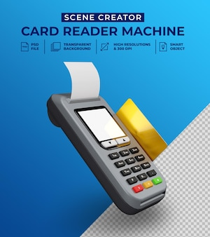 Устройство для чтения дебетовых и кредитных карт в 3d-дизайне