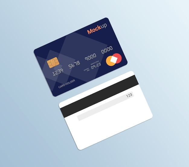 Debit card, credit card, smart card mockup template
