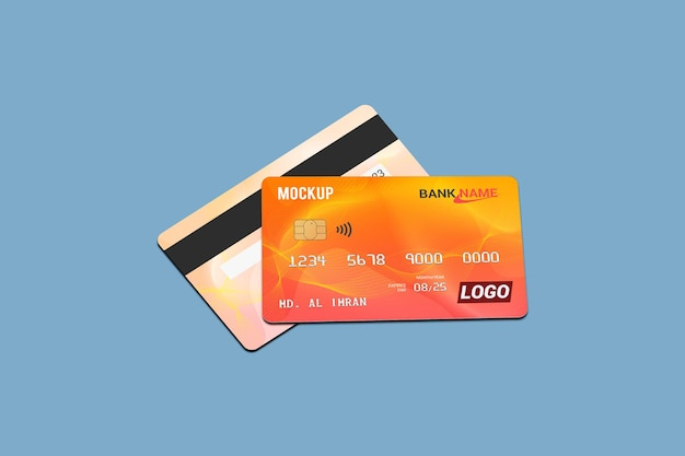 Debit card mockup in 3d rendering isolated
