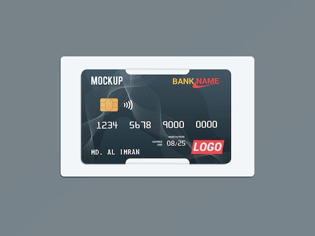 紙のブラケットのモックアップのデビットカードスマートカードプラスチックカード