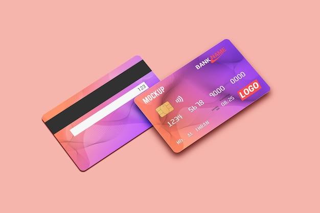 직불 카드 스마트 카드 플라스틱 카드 목업 앞면과 뒷면