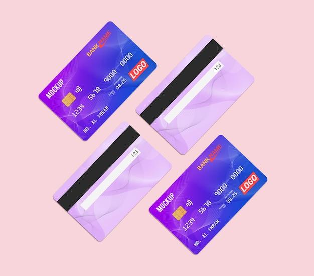 Дебетовая карта, смарт-карта, пластиковая карта, макет, вид спереди и сзади