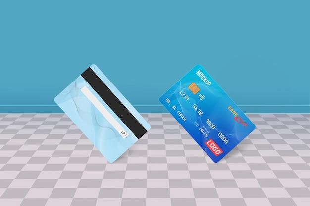 デビットカードスマートカードプラスチックカードモックアップ正面図と背面図