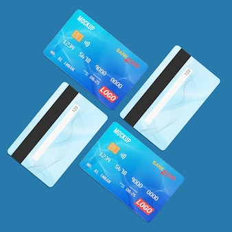 Debit card smart card plastic card mockup front and back view