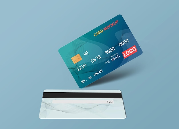 Debit card smart card plastic card mockup